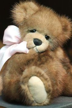 """Mink Fur Teddy Bear By Kimbearlys - The new owner of this wonderful recycled mink fur teddy bear will be able to name her.She is amazing. Such a sweet little soul.Standing 11"""" inches tall.(rare bear for me to make)OOAKOne Of A Kind.Made from a vintage jacket.Giving life back. Never taking it.German glass..."""