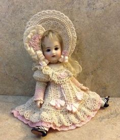 """VICTORIAN STYLE CROCHETED DRESS SET FOR 7""""-8"""" ALL BISQUE DOLL* by Tina"""