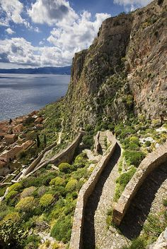 Greece Travel Inspiration - Stone pathway to Monemvasia - Peloponnese, Greece Santorini, Places Around The World, Around The Worlds, Beautiful World, Beautiful Places, Myconos, Greek Beauty, Greece Travel, Greek Islands