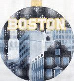 City Bauble—Boston Make strides on your stitching with our Boston Bauble from Kirk&Bradley. The handpainted #needlepoint design is 4″ x 4″ on 18M. Contact @Kirk & Bradley Needlepoint  for more information.