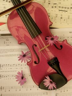 Pink violin with flowers and music framed on the wall. Oh, and the pink violin isn't that bad either. Violin Instrument, Violin Art, Violin Music, Cello, Sound Of Music, Kinds Of Music, Music Is Life, Violin Tumblr, Pink Violin