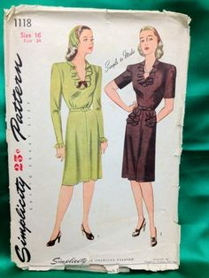 Vintage 1940's Simplicity 1118 Misses and by RetroPatternDesigns, $15.00