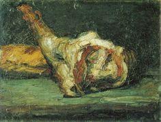 Paul Cézanne,  1865c,  Still Life, : Bread and Leg of Lamb,  oil on canvas -  27 x 35.5 cm /  Kunsthaus, Zurich