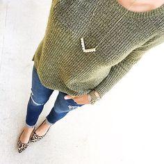textured sweater, leopard flats,