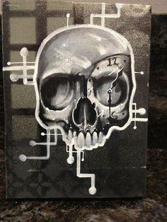 Skull Clock Original Canvas Painting  Tattoo Art Graffitti Art Lowbrow Art 420 #PopArt