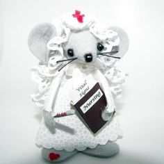 Nurse Felt Mouse felt gift mice for animal lovers and by Warmth, $15.00