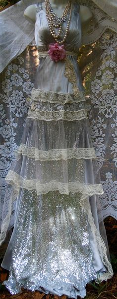 Silver sequin dress party lace flapper fringe tassels rose boho vintage  romantic small by vintage opulence on Etsy