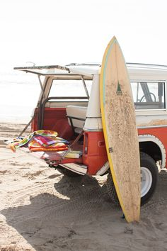 Freedom (surfboard, retro car, sunshine, beach and sea; it definitely equals freedom!)