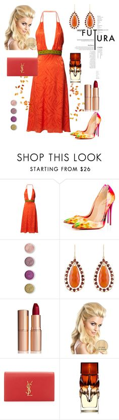 """""""What a lady!"""" by amy0527 ❤ liked on Polyvore featuring Matthew Williamson, Terre Mère, Arya Esha, Charlotte Tilbury, Yves Saint Laurent and Christian Louboutin"""