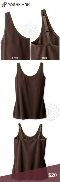 "Coldwater Creek Brown Adjustable Strap Tank Lovely Brown Adjustable Scoop Tank Top ▪ Has adjustable straps for a perfect fit  ▪ CWC Size Small = Size 6 - 8  ▪ Bust: 34"" inches (unstretched) ⚠ All measurements are approximate  💥 Brand New with tag. Never worn   ✋ All Sales Final 
