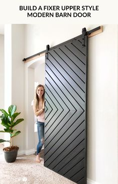 Learn how to build a gorgeous fixer upper style MODERN barn door with these easy., in 2020 Learn how to build a gorgeous fixer upper style MODERN barn door with these easy. Diy Barn Door, Barn Door Hardware, Diy Sliding Barn Door, Door Hinges, Barn Door Closet, Barn Door In Bedroom, Rustic Hardware, Sliding Closet Doors, Casa Rock