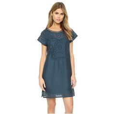 Twelfth St. by Cynthia Vincent Embroidered Dress (385 CAD) ❤ liked on Polyvore featuring dresses, petrol, round neck dress, blue keyhole dress, embroidery dress, button back dress and embroidered dress