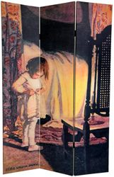 child in her bedroom, Bed in Summer by Jessie Wilcox-Smith printed on a room divider screen. Images from children\'s books