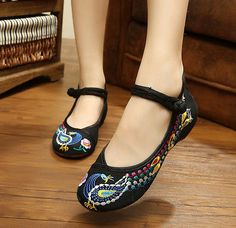 Peacock Style Women Shoes Chinese Traditional Old Peking Flat Heel with  Embroidery Shoes Comfortable Soft Shoes ae84564f7430