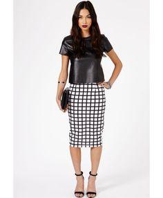 Joaline Contrast Square Print Bodycon Midi Skirt - skirts - midi skirt - missguided $28