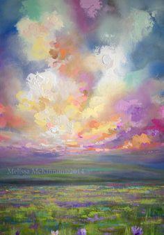 Abstract landscape, abstract sky painting, Prairie, Alberta prairie art…