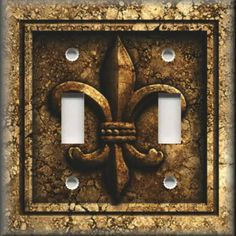 Light Switch Plate Cover - French Fleur De Lis - Aged Stone Image - Brown