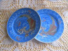 Vintage Pair Dragonware Moriage Blue by TheSnapDragonsLair on Etsy, $9.95