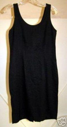 1960's Little Black Linen like Classy Vintage Cocktail Dress 7/8 #Dresses