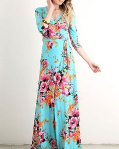Tiffany Floral Wrap Dress Sexymodest.com #modestshoppin #sexymodest #boutique #love #floral #wrap #maxi #dress #blue #bright #colorful #summer #style #comfy #cute #flowers