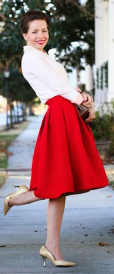 bright red pleated skirt http://rstyle.me/n/snjjvr9te