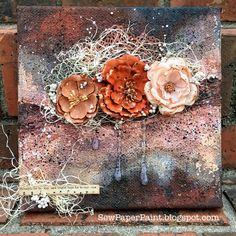 SewPaperPaint: Rusty Mixed Media Floral Canvas with Lindy's