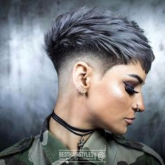 Funky Short Pixie Haircut That You Need to Try. Short pixie haircuts are still hot and getting one i Pixie Haircut For Thick Hair, Funky Short Hair, Super Short Hair, Short Pixie Haircuts, Short Hairstyles For Women, Short Hair With Undercut, Short Undercut Hairstyles, Undercut Pixie Haircut, Thin Hair