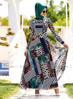 Patchwork Desen Şifon Elbise - Lacivert Beyaz - Nilüfer Kamacıoğlu