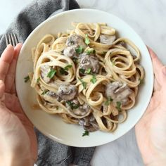 Date Night Mushroom Fettuccine - elegant and luscious and FIVE INGREDIENT EASY. *less butter recommended* With bacon mmmm Forget date night. Swap out fettuccine with zoodles for Keto frien Date Night Mushroom Fetticcine – Linda Mott Menke – Illustrate Vegetarian Recipes, Cooking Recipes, Healthy Recipes, Apple Recipes, Easy Cooking, Easy Recipes, Cooking Rice, Cooking Chef, Cooking School