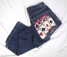 JNCO Men's Jeans 32 x 31 VTG Baggy Poker Flames Aces Spades Skater Rave Pants #JNCO #BaggyLoose