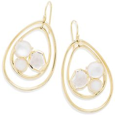 Ippolita 18K Rock Candy Pear-Shaped Wire Earrings in Antique White found on Polyvore featuring jewelry, earrings, antique white, jewelry earrings, hammered wire jewelry, ippolita, ippolita jewelry, clear crystal earrings and 18k earrings