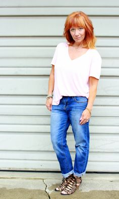 Fashion Fairy Dust: pink tee shirt, boyfriend jeans, leopard wedge sandals