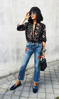 Embroidered pieces came back officially. We can find it everywhere at fashion week, runways,street snaps. This season is all about contrast, we need embroide