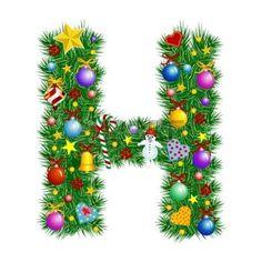 Letra H - árbol de Navidad decoración - Alfabeto