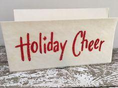 """Vintage Glittered and Flocked """"Holiday Cheer"""" Christmas Card ~ Vellum~Unused"""