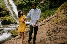 Mustard colored dresses and blue shirts always photograph SO well! Engagement photos at Panther Creek Falls by Portland photographer Katy Weaver Engagement Photo Outfits, Engagement Photos, Mustard Colored Dress, Portland Photographers, Panther, Couple Photos, Blue, Shirts, Dresses