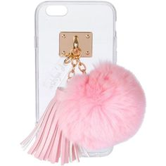 Ashlyn'D Transparent iPhone 6 Case w/ Fur Pompom ($60) ❤ liked on Polyvore featuring accessories, tech accessories, phones and light pink