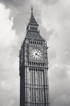 London Photography Big Ben Black and White by JenniferHulley, $16.00