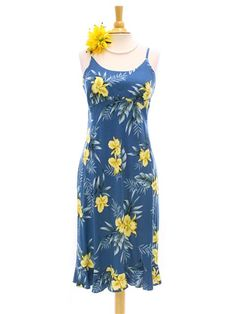 7551483baa709 Two Palms Orchid Fern Blue Rayon Hawaiian Spaghetti Strap Midi Dress |  AlohaOutlet