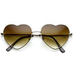 Womens Cute Metal Heart Shape Fashion Sunglasses 8796 - Gold Amber