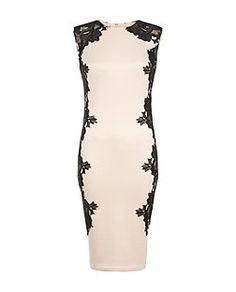 AX – Midi-Kleid in Muschelrosa mit seitlichen Häkeleinsätzen   New Look