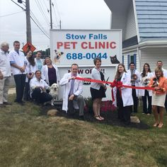 Ribbon cutting with Mayor Sara Drew and other chamber members at Stow Falls Pet Clinic. Stow Ohio, Pet Clinic, Exotic Pets, Doctors, Your Pet, Health Care, Stress, Ribbon, Animals