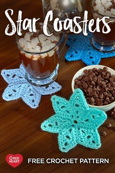 Crochet Motif Star Coasters free crochet pattern in Super Saver yarn. Crochet a set of stars to use for Hanukkah or any wintertime entertaining. Then make an extra set to give as a gift to a host! Crochet Star Patterns, Crochet Coaster Pattern, Crochet Stars, Crochet Motif, Crochet Flowers, Knitting Patterns, Doilies Crochet, Crochet Pillow, Square Patterns