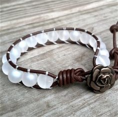brown leather single-wrap bracelet;  white glass beads. IWANTTHIS