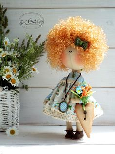 Tiny Dolls, Soft Dolls, Fabric Crafts, Sewing Crafts, Pretty Dolls, Kids Corner, Doll Hair, Hello Dolly, Biscuit