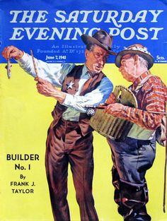 "1941 Saturday Evening Post Cover - ""Not a Keeper"" - J Karl Rauschert Art - Vintage Fishing Illustration Art Print - International Trucks Ad"