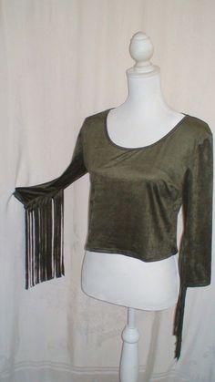 Brat Star Faux Suede Fringe Sleeve Crop Top Sage Green Women's Size L #BratStar #CropTop