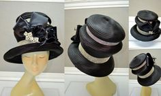 Whittall & Shon black satin bow rhinestone feather avant derby church hat #Derby