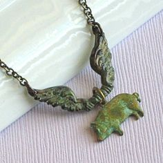 Flying Pig Necklace - Verdigris Brass
