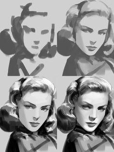 Digital Painting Tutorials, Digital Art Tutorial, Art Tutorials, Volume Art, Arte Sketchbook, Process Art, Drawing Process, Painting Process, Portrait Art
